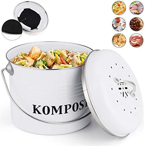 5L Küchen Bio Mülleimer und geruchsdichter Komposter Eimer, Komposteimer für die Küche mit Aktivkohlefilter Küchenabfalleimer Komposteimer