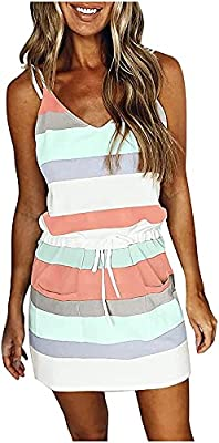 Material: Abendedian striped mini dress made of cotton blend and polyester. Smooth Touched and Lightweight, moreover, the fabric is Super Soft, gives this Tank Dresses a Swing flowy look, ensure It's breathable and airy, Great to Wear In Spring Summe...