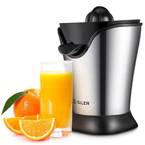 ISILER Zitruspresse, 100 W Saftpresse Neueste Version, 5 Minuten für ein 350 ml Glas Saft, Organgenpresse mit Staubschutzhaube und Stahlgehäuse, Entsafter für Zitrusfrüchte wie Orangen Grapefruit