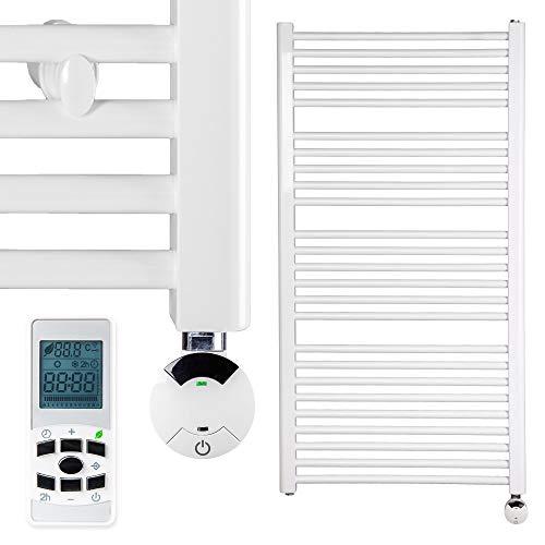 HEATSUPPLY® Badheizkörper elektrisch 1.142 x 600mm Handtuchheizkörper 600 Watt Handtuchtrockner weiß mit Smart Program Thermostat und Fernbedienung