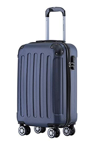 BEIBYE Hartschalen-Koffer Trolley Rollkoffer Reisekoffer Handgepäck 4 Rollen (M-L-XL-Set) (Dunkelblau, M)