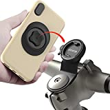 Mountain Bike Phone Mount,Bicycle Cell Phone Holder,Universal Aluminum Handlebar Stem Phone Clamp,GPS Cycling Lock Clip,MTB Road Bicycle Quick Attach/Release for iPhone Samsung Galaxy Google(Black)