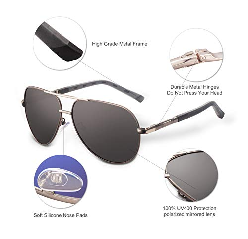 Personalized Aviator Sunglasses for Men -Polarized Sunglasses UV400 Protective – Best Gift For Son Husband From Mom