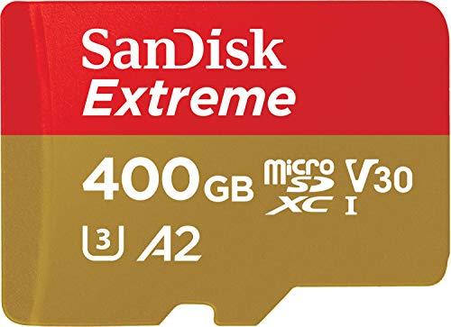 Carte Mémoire microSDXC SanDisk Extreme 400 Go + Adaptateur SD avec Performances Applicatives A2 jusqu'à 160 Mo/s, Classe 10, U3, V30