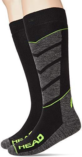 Head V-Shape Kneehigh Ski Socks (2 Pack) Calze da Sci, Nero/Grigio/Giallo, 43/46 (Pacco da 2)...