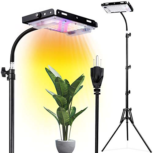 LadyRosian Grow Light with Stand- Full Spectrum 150W LED Grow Light for Indoor Plants, Standing Floor Plant Light with ON/Off Switch, 3-pin Plug, Flexible Gooseneck, Tripod Adjustable 23-59 inch