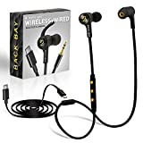 Back Bay 3-in-1 Wireless & Wired USB-C Headphones [Bluetooth, USB Type C, Aux 3.5mm Cables] Sweatproof Earbuds Magnetic Bass Earphones with Mic. Compatible: Pixel, Note, Galaxy, OnePlus, Other Phones