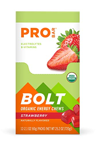 PROBAR - Bolt Organic Energy Chews, Strawberry, Non-GMO, Gluten-Free, USDA Certified Organic, Healthy, Natural Energy, Fast Fuel Gummies with Vitamins B & C (12 Count) 2