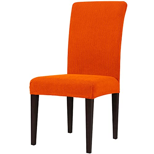 subrtex Dining Chair Slipcovers Stretch Parsons Chair Covers Sets Chiar Protector Removable Washable Elastic for Ktichen Dining Room Restaurant Hotel Ceremony (4, Orange)