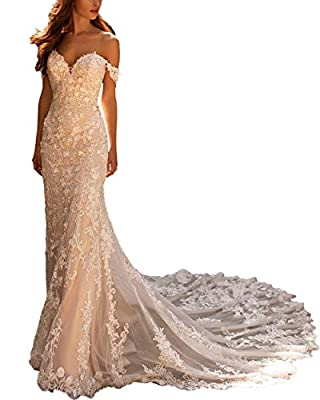 ♥Features: Off the shoulder wedding dresses for women, mermaid wedding dresses for bride 2020 with train, bridal gowns for women formal, illusion open back, zip closure, fully lined, built-in bras ♥Notice: Don't refer to the Amazon Size Chart(next to...