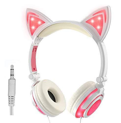 Olyre Cuffie Auricolari con Orecchio Cat Headsets, Headphones Ricaricabili per Bambini Earphones (Rosa)