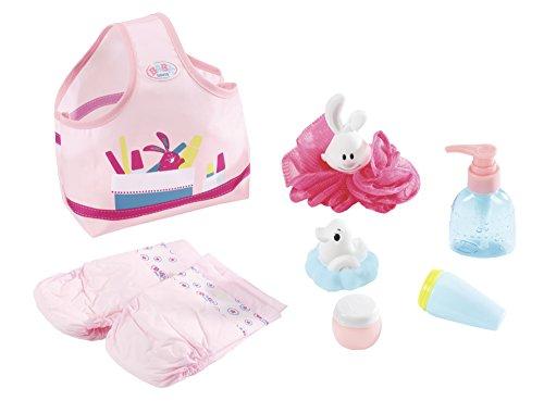 Zapf Creation 823606 BABY born Wash & Go Badeset bestehend aus Seifenspender, Cremetube, Puderdose, Schwamm, Windeln, Badeente und Tragetasche, Puppenzubehör, 8-teilig