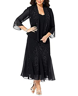 RUNS LARGE- ORDER ONE SIZE DOWN. See size chart in images Hits just above ankle. Fully lined - 100% polyester. Jacket: open-front, sheer, three-quarter sleeves, beading at front Beading at front of dress. Slightly fitted bodice with godet pleats at s...