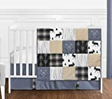 Sweet Jojo Designs Blue, Tan, Grey and Black Woodland Plaid and Arrow Rustic Patch Baby Boy Nursery Crib Bedding Set - 4 Pieces