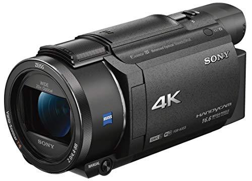 Sony FDR-AX53 Videocamera 4K Ultra HD con Sensore CMOS Exmor R, Ottica Grandangolare Zeiss 26.8 mm, Zoom Ottico 20x, Stabilizzazione Attiva a 5 Assi (BOSS), Nero