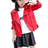 Elife Girls Fashion PU Leather Motorcycle Jacket Children's Outerwear Slim Coat red 6-7Y …