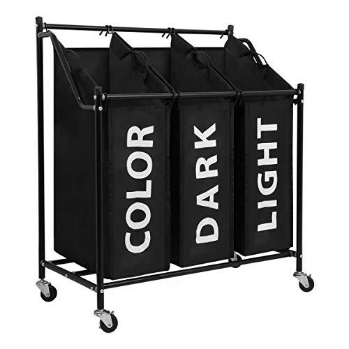 Meerveil Wäschesortierer 3 Fächer, Wäschekorb, Wäschesammler mit 3 abnehmbaren Stofftaschen, Wäschebehälter auf Rollen, Wäschebox, 3 * 45 Liter, Schwarz