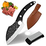 Hand Forged Boning Knife & Whetstone for Home Meat Cleaver Knives with Sheath Vegetable Chef Knives High Carbon Steel Butcher Knife Viking Knife for Kitchen, Camping, BBQ