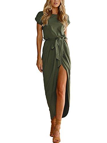 YOINS Sommerkleid Damen Lang Maxikleider für Damen Strandkleid Sexy Kleid Kurzarm Jerseykleider Strickkleider Rundhals mit Gürtel Langarm,EU36-38/S,Maxikleid-grün