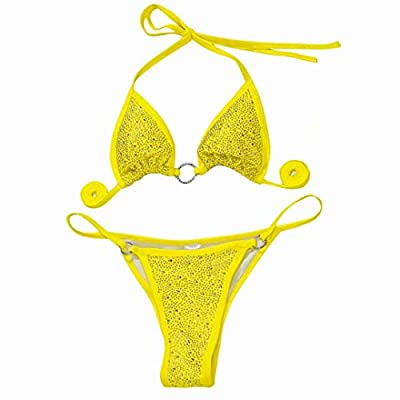 Women halter swimwear set--- Material: Polyester. Quick-drying bikini swimsuit for women & ladies, great quality fabric material is super lightweight, soft, comfort and some stretchy Rhinestone bikini set --- Sexy triangle cup bikini top, halter neck...
