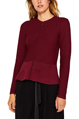 ESPRIT Collection Damen 999Eo1I802 Strickjacke, Rot (Garnet Red 620), Large (Herstellergröße: L)