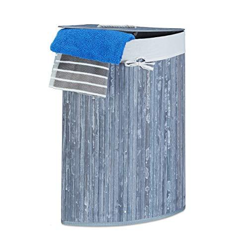 Relaxdays Eckwäschekorb Bambus, faltbare Wäschebox 60 l, platzsparend, Wäschesack Baumwolle, 65 x 49,5 x 37 cm, grau