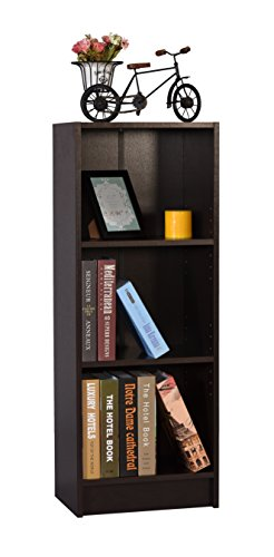 DeckUp Lexis Engineered Wood 3-Shelf Matte Finish Bookcase and Storage Unit