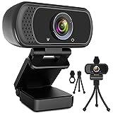 Webcam HD 1080p Web Camera, USB PC Computer Webcam with Microphone, Laptop Desktop Full HD Camera...