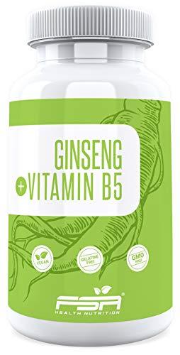 Echter koreanischer Ginseng Extrakt mit Vitamin B5, 1000 mg Extrakt je Tagesdosis, 90 vegane Kapseln - Hergestellt in Deutschland - FSA Nutrition