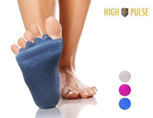 High Pulse Zehenspreizer Socken (1 Paar   Einheitsgröße) – Die sanfte Entspannung bei Hallux Valgus und Zehenfehlstellungen (Grau)