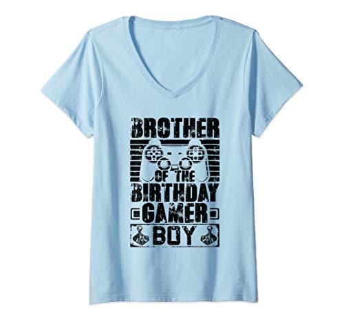 Womens Brother of the Birthday Boy Matching Video Game Birthday V-Neck T-Shirt