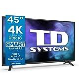 TD Systems K45DLJ12US - Televisores Smart TV 45 Pulgadas 4k UHD, Android 9.0 y HBBTV, 1300 PCI Hz, 3X HDMI, 2X USB. DVB-T2/C/S2, Modo Hotel. Televisiones