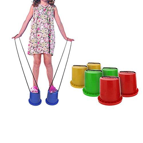 1 Paar Topfstelzen Laufdollis Laufstelzen für Kinder Spielplatz, Garten, Outdoor Spiel Spaß - Rot # 2