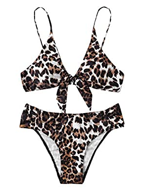 Features: Tie Kont Front, Adjustable Strap, Push Up, Swimwear Set for Women. Soft with Good Elasticity, Comfy to Wear. Please refer to our Size Chart(Not Amazon).Recommend to CHOOSE One/Two Size Up! OCCASIONS: Tropical Vacation, Beach Party etc Machi...