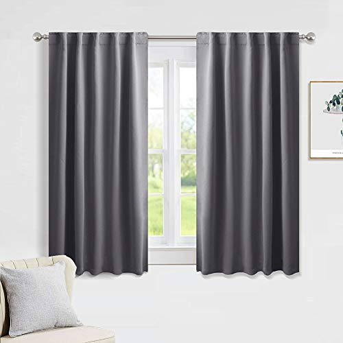 PONY DANCE Blackout Window Curtains - Short Gray Thermal Insulated Drapes Back Tab/Rod Pocket Room Darkening Panels Energy Saving for Bedroom/Bathroom, 42 W x 54 L, Grey, 1 Pair