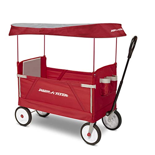 Radio Flyer 3-In-1 Ez Folding Wagon with Canopy For Kids & Cargo, Red