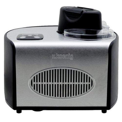 H.Koenig HF250 Gelatiera per gelati e sorbetti con compressore autorefrigerante, 1,5L, Preparazione in 40min, Acciaio Inox, 150W