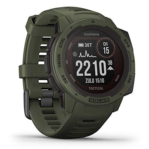 Garmin Instinct Solar Tactical - robuste GPS-Smartwatch mit taktischen Funktionen und Solar-Ladelinse für bis zu 54 Tage Akku. US-Militärstandard, wasserdicht bis 10 ATM, Sport-/Fitnessfunktionen