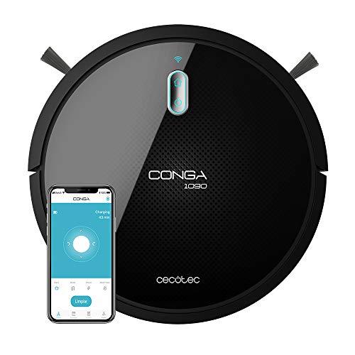 Cecotec Robot Aspirador y Fregasuelos Conga Serie 1090 Connected. 1400 Pa, Compatible con Alexa y Google Home, Aspira, Barre, Friega y Pasa la Mopa,...