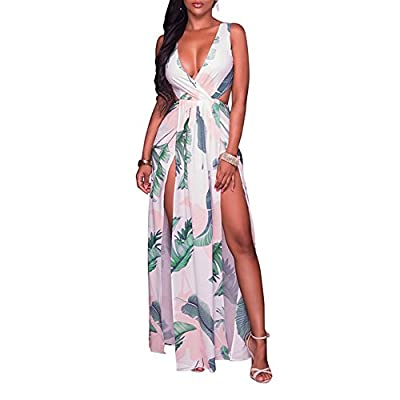 Soft and comfortable material, stretchy fabric and high quality Strapless Maxi Long Dress--High waist side slit, short sleeves, vintage floral print Feature: full length,overlay romper,Split,V-neck,floral maxi dress Garment Care: Machine washable, Ha...