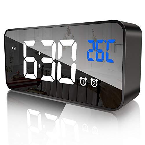 Digitaler Wecker,Tragbarer Spiegelwecker,USB Wiederaufladbarer Reisewecker,Schlummerfunktion,Doppelwecker,13 Klingeltöne,Temperaturanzeige, 12/24 Stunden,4 Helligkeitsarten und Lautstärke einstellbar