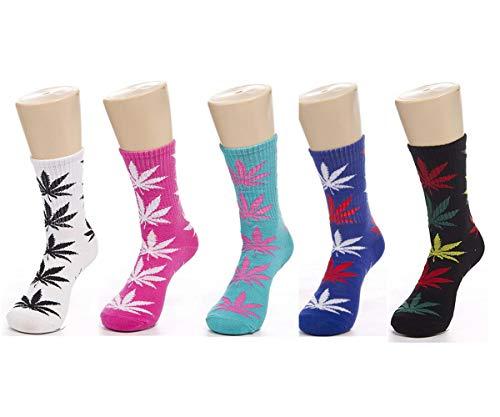 JUMUU 5 Pair Marijuana Weed Leaf Printed Cotton Colorful Sports Crew Socks (High, white/blue/green/black/red)