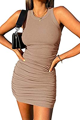Material:92%Polyester+8%Spandex,high stretchy,soft and comfortable fabric. Summer party dress, Ruched stretchy dress, Sleeveless Bodycon Dress, Crewneck slim fit dress, go to club dress, Sexy mini dress, Round neck casual dress. Occasion: casual, par...