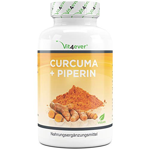 Vit4ever® Curcuma + Piperin - 360 Kapseln je 750 mg - 4500 mg Kurkuma pro Tagesportion - 5{7eed3a5b926bc1111a9b54e693687eb3a0d9f4179ce1fc9fdda19a367044ebc9} Curcumin Extrakt - Schwarzer Peffer Extrakt - Laborgeprüft - Vegan - Hochdosiert