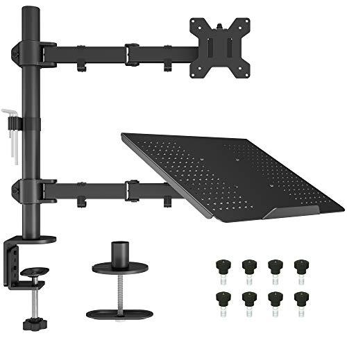 BONTEC Supporto Monitor Braccio con Vassoio per Laptop per Schermo LED LCD da 13 a 27 Pollici, Inclinazione Rotazione Supporto Ergonomico da Tavolo con Morsetto, Dimensioni VESA: 75x75-100x100 mm