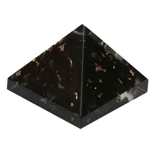 Spritual Elementz Reiki - Pirámide orgonal de curación de chakras negros (1 pulgada) con cristal transparente de metal de cobre (piedra para protección de todas las energías negativas)