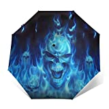 DOWNN Paraguas automático triple plegable 3D con estampado exterior de calavera, quema, impermeable, resistente al viento, plegable, para hombre y mujer al aire libre