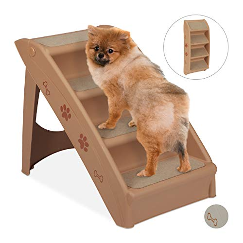 Relaxdays Hundetreppe 4 Stufen, kleine & große Hunde, Bett & Couch, Auto, Tiertreppe bis 100 kg, HBT: 49x39x61 cm, beige, 1 Stück