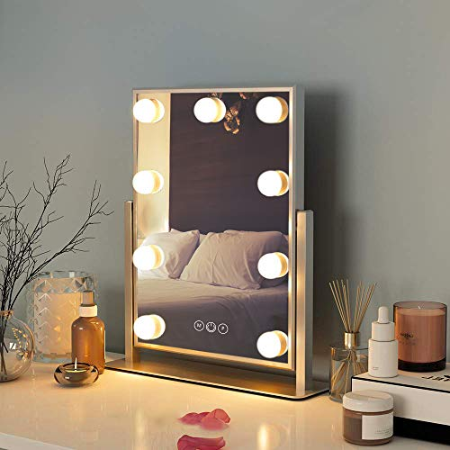 FENCHILIN Hollywood Mirror with Light Large Lighted Makeup Mirror Vanity Makeup Mirror Smart Touch Control 3Colors Dimable Light Detachable 10X Magnification 360Rotation(White)