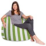 Posh Beanbags Bean Bag Chair, X-Large-48in, Canvas Stripes Green and White